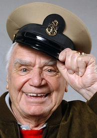 Borgnine wearing a chief petty officer's cap in October 2004.