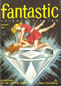 "Silverberg's novelette ""Guardian of the Crystal Gate"" was the cover story in the August 1956 issue of Fantastic Stories"