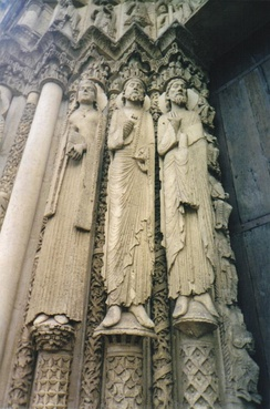 The Western (Royal) Portal at Chartres Cathedral (ca. 1145). These architectural statues are among the earliest Gothic sculptures and were a revolution in style and the model for a generation of sculptors.