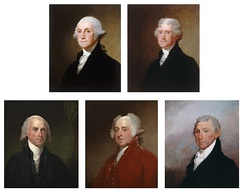 The Gibbs-Coolidge Set, five oil paintings on wood of the first five Presidents, by Gilbert Stuart. The set was acquired by NPG in 1979.