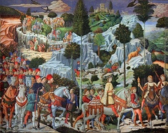 Medici family members placed allegorically in the entourage of a king from the Three Wise Men in the Tuscan countryside in a Benozzo Gozzoli fresco, c. 1459.