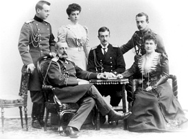 The Vladimirs, on the occasion of their silver wedding in 1899. From the left: Grand Duke Andrei, Grand Duke Vladimir, Grand Duchess Elena, Grand Duke Kirill, Grand Duchess Maria Pavlovna, and Grand Duke Boris.[27]