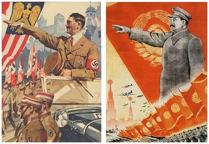 Hitler and Stalin in 1930's propaganda posters