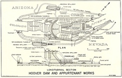 Overview of dam mechanisms; diversion tunnels shown