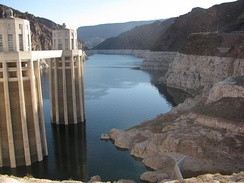 View upstream from Hoover Dam, Sept. 2009. Water elevation on this date was 1093.77 ft.