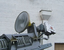Corrugated feedhorn and LNB on a Hughes DirecWay satellite dish.