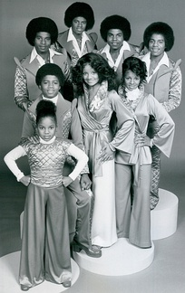 The Jackson siblings from their television program The Jacksons. Front, from left: Janet, Randy, La Toya, Rebbie. Back, from left: Jackie, Michael, Tito, Marlon. Note: Jermaine was not part of the television program due to contractual issues and is not pictured.