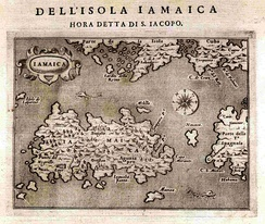 1572 map of Jamaica by Tomaso Porcacchi.