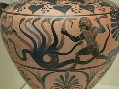 Heracles fighting the Hydra of Lerna on a hydria by the Eagle Painter, c. 525 BC, now in the Getty Villa, Malibu, California