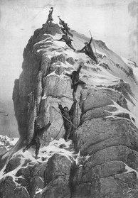 The first ascent of the Matterhorn (1865), lithograph by Gustave Doré
