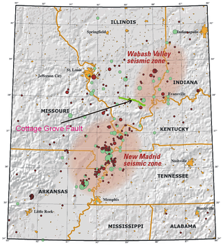 Jutting off the Wabash Valley seismic zone on the Illinois–Indiana border is the Cottage Grove Fault. To the south, on the edge of Missouri, is the New Madrid seismic zone.