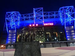 Old Trafford's tribute to the NHS during the 2020 COVID-19 pandemic.