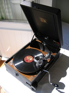 A 1930s portable wind-up gramophone from EMI  (His Master's Voice)