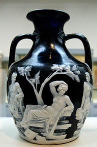 The Portland Vase in Roman cameo glass in imitation of onyx.