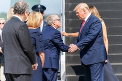 DeWine greeting President Donald Trump in 2019