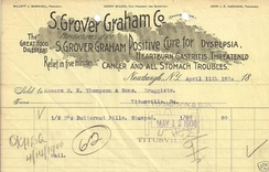 "Receipt from 1900 for a patent medicine claiming a ""Positive Cure for Dyspepsia, Heartburn, Gastritis, Threatened Cancer and all Stomach Troubles"" with ""Relief in five minutes."""