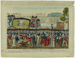 Return of the royal family to Paris on 25 June 1791, after the flight to Varennes (colored engraving, Carnavalet Museum, Paris)