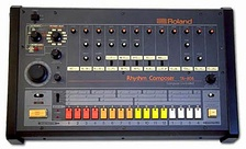 The instrument that provided electro's synthesized programmed drum beats, the Roland TR-808 drum machine.