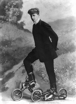 Young man on the Edvard Petrini's pedaled roller skates,[1] known as Takypod in Sweden, circa 1910