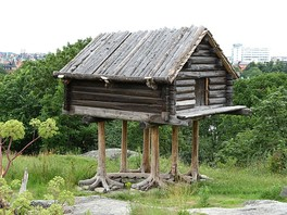 "Traditional raised Sami storehouse, displayed at Skansen, Stockholm, Sweden. A similar structure, is mentioned in Russian fairy tales as a ""house with chicken legs"""