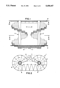 Spiral Escalator US Patent 5,158,167 (Pahl 1992) Drawing