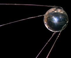 Sputnik 1, the first artificial satellite orbited Earth at 939 to 215 km (583 to 134 mi) in 1957, and was soon followed by Sputnik 2. See First satellite by country (Replica Pictured)