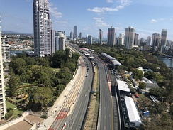 An aerial view of the street circuit as seen from a helicopter.