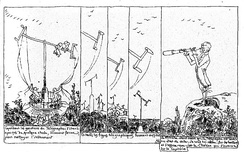 "A cartoon strip of ""Monsieur Pencil"" (1831) by Rodolphe Töpffer"
