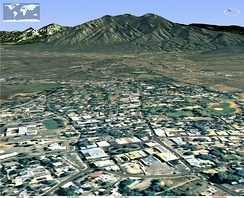 View north from Taos Plaza toward Taos Mountain (NASA WorldWind)