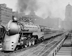 The streamlined 20th Century Limited with a NYC Hudson locomotive, 1938