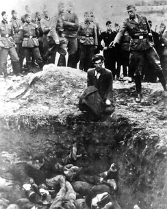 The last Jew in Vinnytsia (Der letzte Jude in Winniza), a photograph of a Jewish man about to be shot dead by a member of Einsatzgruppe D near the town of Vinnytsia in Ukraine, 1941