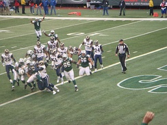 Thomas Jones scores a touchdown for the New York Jets against the St. Louis Rams in week 10 of the season