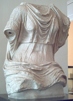 Roman marble torso from the 1st century AD, showing a woman's clothing