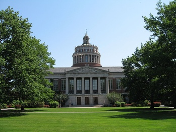 Rush Rhees Library at the University of Rochester, which in the early 1970s had the third largest endowment in the country, after Harvard University and the University of Texas System,[6] and is the 6th largest employer in New York State today.[7]
