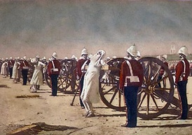 Suppression of the Indian Revolt by the English, which depicts the execution of mutineers by blowing from a gun by the British, a painting by Vasily Vereshchagin c. 1884. Note: This painting was allegedly bought by the British crown and possibly destroyed (current whereabouts unknown). It anachronistically depicts the events of 1857 with soldiers wearing (then current) uniforms of the late 19th century.