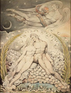 Satan Watching the Caresses of Adam and Eve (c. 1808) by William Blake, an illustration of John Milton's Paradise Lost