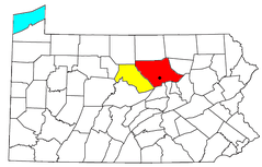 Location of the Williamsport-Lock Haven CSA and its components:  .mw-parser-output .legend{page-break-inside:avoid;break-inside:avoid-column}.mw-parser-output .legend-color{display:inline-block;width:1.5em;height:1.5em;margin:1px 0;text-align:center;border:1px solid black;background-color:transparent;color:black;font-size:100%}.mw-parser-output .legend-text{font-size:95%}  Williamsport Metropolitan Statistical Area   Lock Haven Micropolitan Statistical Area The black dot shows the location of Williamsport