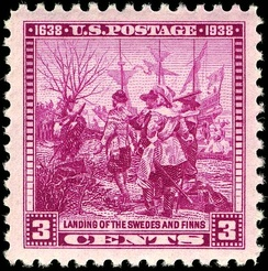 US Postage stamp commemorating the founding of Wilmington, Delaware (1938)