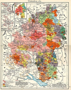 Württemberg more than doubled its size when it absorbed some 15 Free Cities (in orange) and other territories during the mediatisations of 1803 and 1806.