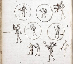 Christiaan Huygens' 1659 sketches for a projection of Death taking off his head
