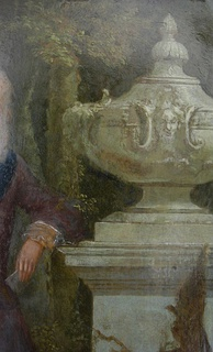 A 1720s oil-on-copper depiction of a fantasy garden urn; a detail of a larger English painting of a Knight of the Garter.