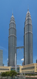 The Petronas Twin Towers in Kuala Lumpur were the tallest from 1998 to 2004.
