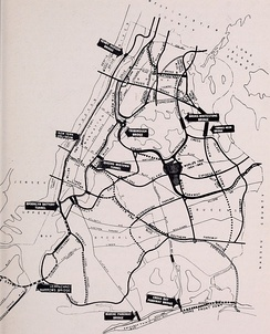 A 1964 Parks Department map showing numerous Robert Moses projects, including several highways that went unbuilt or were only partially completed.