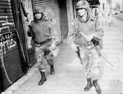 Following the 1992 Los Angeles Riots, 4,000 National Guardsmen patrolled the city.