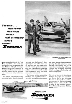 A 1947 advertisement for the first Model 35 Bonanza