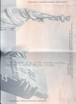 Message in the passport of an American Samoan stating that the passport holder is a national, not citizen, of the US