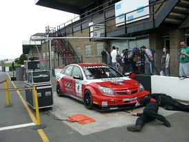 VXRacing Vectra being checked by the scrutineers