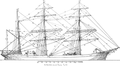 Standing rigging on a square-rigged vessel.