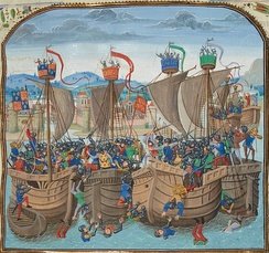 Battle of Sluys from a BNF manuscript of Froissart's Chronicles, Bruges, c.1470.