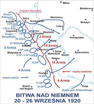 Map of the Battle of the Niemen River: Polish forces maneuvered through the Lithuanian front line (in pink) to the rear of Soviet troops